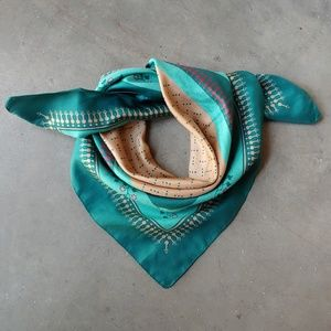 Vintage Accessories - Vintage Green and Tan Print Satin Square Scarf